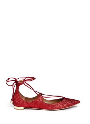Main View - Click To Enlarge - Aquazzura - 'Christy' lace-up metallic glitter flats