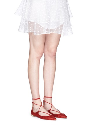 Figure View - Click To Enlarge - Aquazzura - 'Christy' lace-up metallic glitter flats