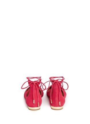 Back View - Click To Enlarge - Aquazzura - 'Christy' lace-up suede flats