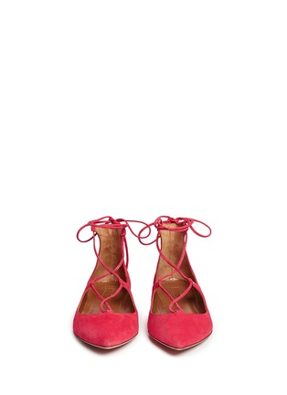 Figure View - Click To Enlarge - Aquazzura - 'Christy' lace-up suede flats
