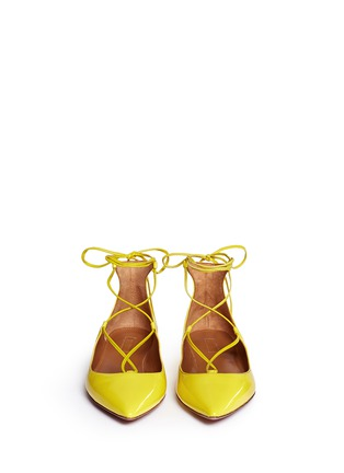 Figure View - Click To Enlarge - Aquazzura - 'Christy' lace-up patent leather flats