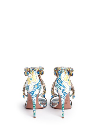 Back View - Click To Enlarge - Aquazzura - 'Milla' crystal fringe floral print leather sandals