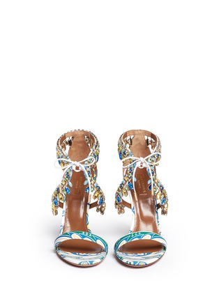 Front View - Click To Enlarge - Aquazzura - 'Milla' crystal fringe floral print leather sandals