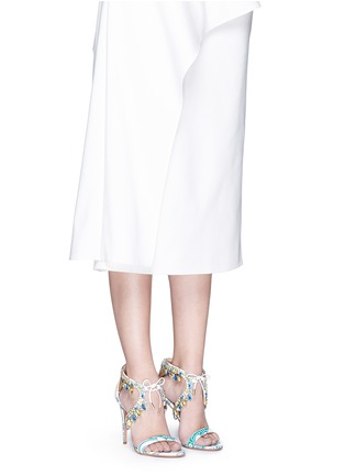 Figure View - Click To Enlarge - Aquazzura - 'Milla' crystal fringe floral print leather sandals