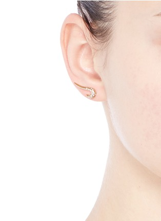 Michelle Campbell - 'Galaxy Curl' diamond 14k gold single climber earring