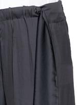 Gathered waist satin wide leg pants