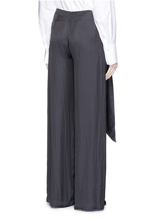 Back View - Click To Enlarge - Cédric Charlier - Gathered waist satin wide leg pants