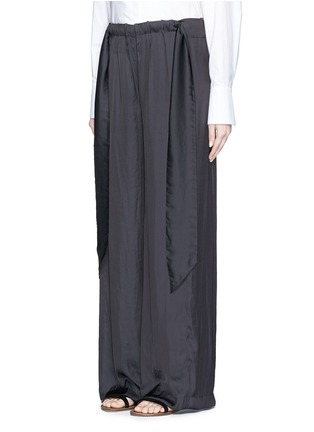 Front View - Click To Enlarge - Cédric Charlier - Gathered waist satin wide leg pants