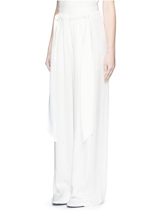 Front View - Click To Enlarge - Cédric Charlier - Gathered waist crépon wide leg pants