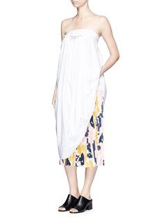 CÉDRIC CHARLIERGathered front cotton poplin strapless dress
