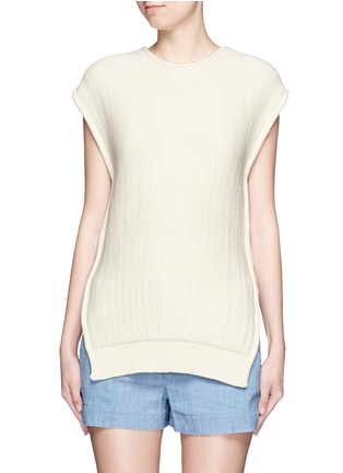 Main View - Click To Enlarge - Cédric Charlier - Open side rope drawstring knit top