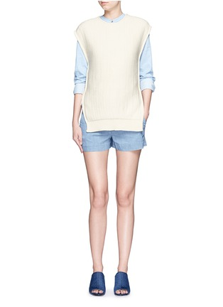 Figure View - Click To Enlarge - Cédric Charlier - Open side rope drawstring knit top