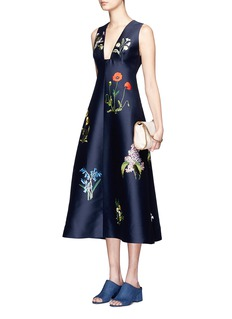 STELLA MCCARTNEY Floral embroidery Duchesse satin flare dress