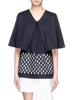 Lasercut diamond cape sleeve cotton top