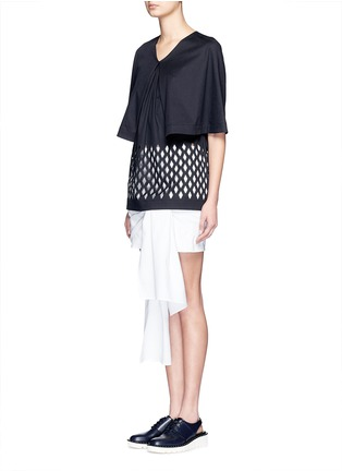 Stella McCartney-Lasercut diamond cape sleeve cotton top