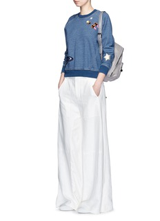 STELLA MCCARTNEYBeaded embroidery denim effect cotton sweatshirt