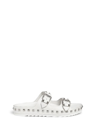 Main View - Click To Enlarge - Ash - 'Utopia' stud leather slide sandals