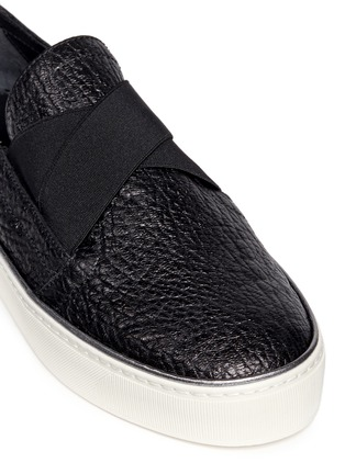 Detail View - Click To Enlarge - Stuart Weitzman - 'Flex' elastic strap grainy leather skate slip-ons