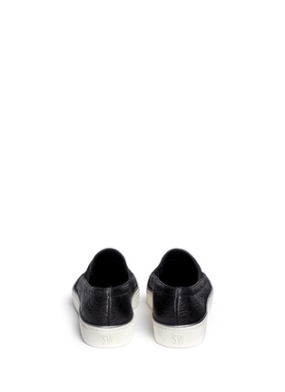 Back View - Click To Enlarge - Stuart Weitzman - 'Flex' elastic strap grainy leather skate slip-ons