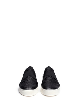 Front View - Click To Enlarge - Stuart Weitzman - 'Flex' elastic strap grainy leather skate slip-ons