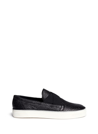 Main View - Click To Enlarge - Stuart Weitzman - 'Flex' elastic strap grainy leather skate slip-ons