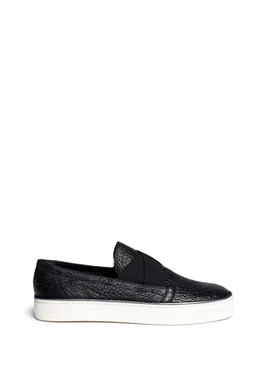 Flex elastic strap grainy leather skate slip-ons by Stuart Weitzman
