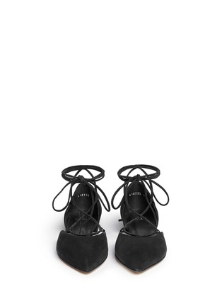 Front View - Click To Enlarge - Stuart Weitzman - 'Gilligan' lace-up d'Orsay flats