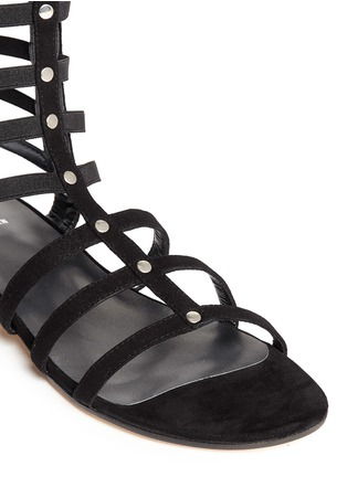 Detail View - Click To Enlarge - Stuart Weitzman - 'Gladiator' caged suede sandals