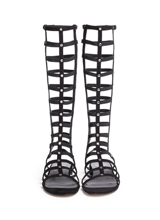 Front View - Click To Enlarge - Stuart Weitzman - 'Gladiator' caged suede sandals