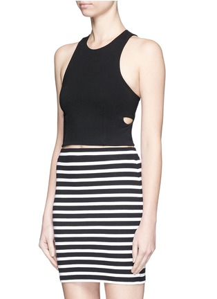 Front View - Click To Enlarge - T By Alexander Wang - Bandeau back ponte knit cropped top