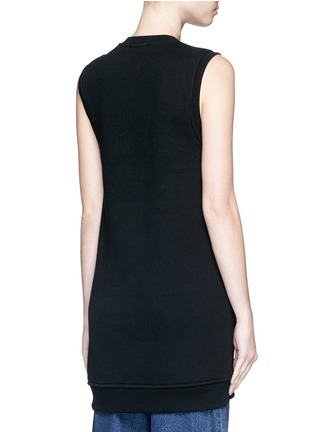 Back View - Click To Enlarge - T By Alexander Wang - Eyelet cotton fleece sleeveless sweatshirt
