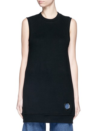 Main View - Click To Enlarge - T By Alexander Wang - Eyelet cotton fleece sleeveless sweatshirt