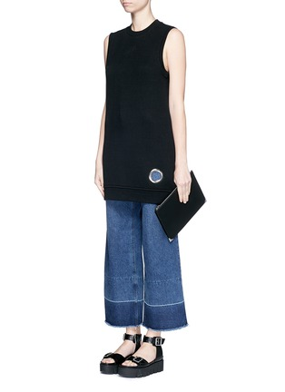 Figure View - Click To Enlarge - T By Alexander Wang - Eyelet cotton fleece sleeveless sweatshirt