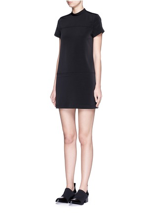 Front View - Click To Enlarge - T By Alexander Wang - Band collar stretch faille dress