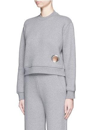 Front View - Click To Enlarge - T By Alexander Wang - Eyelet cotton fleece sweatshirt