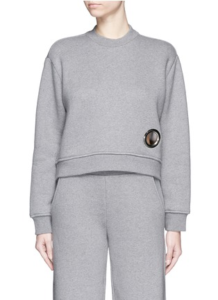 Main View - Click To Enlarge - T By Alexander Wang - Eyelet cotton fleece sweatshirt