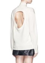 Cutout back Merino wool turtleneck sweater