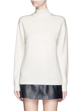 Main View - Click To Enlarge - T By Alexander Wang - Cutout back Merino wool turtleneck sweater