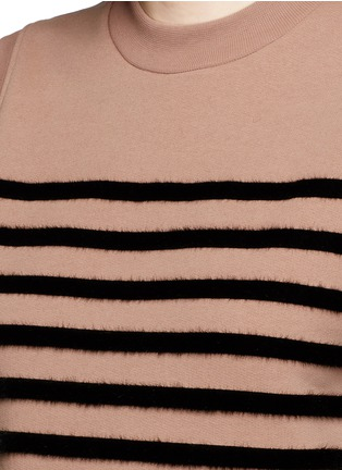 T By Alexander Wang - Flock velvet stripe cotton fleece sleeveless sweatshirt