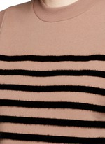 Flock velvet stripe cotton fleece sleeveless sweatshirt