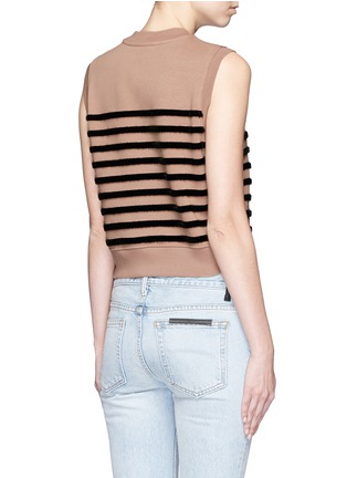 Back View - Click To Enlarge - T By Alexander Wang - Flock velvet stripe cotton fleece sleeveless sweatshirt