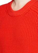 Oversize cotton blend cable knit sweater
