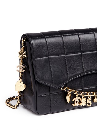 Detail View - Click To Enlarge - Vintage Chanel - 'Chocolate Bar' pavé logo charm quilted leather bag