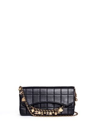 Main View - Click To Enlarge - Vintage Chanel - 'Chocolate Bar' pavé logo charm quilted leather bag