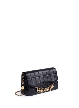 Figure View - Click To Enlarge - Vintage Chanel - 'Chocolate Bar' pavé logo charm quilted leather bag
