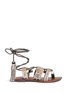 Sam Edelman 'Gretchen' pompom mirror sequin lace-up sandals