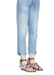 Sam Edelman'Gretchen' pompom mirror sequin lace-up sandals