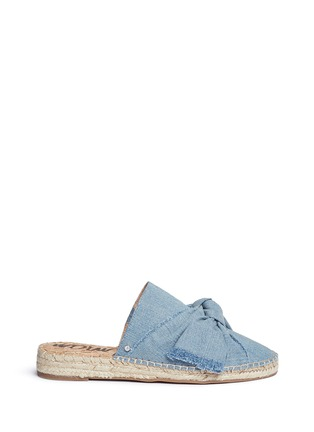 Main View - Click To Enlarge - Sam Edelman - 'Lynda' knotted bow denim espadrille slides