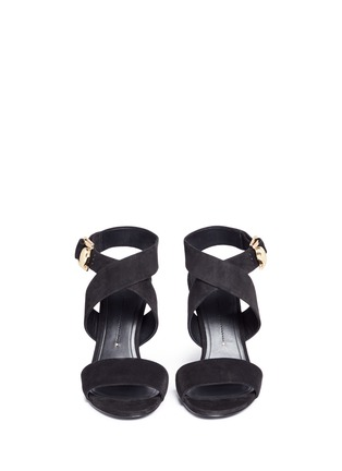 Front View - Click To Enlarge - Stella Luna - Turnlock D-ring ankle strap suede sandals