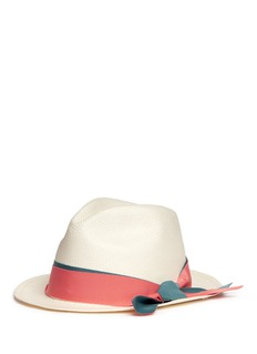 Sensi Studio'Adrian' contrast ribbon bow toquilla straw hat